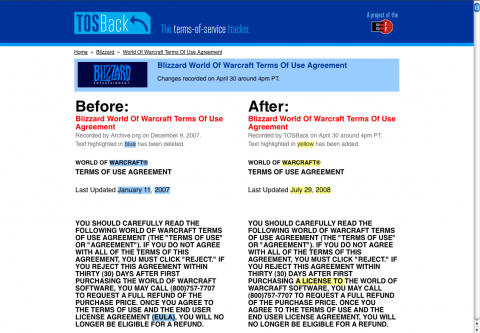 TOSBack - beim Vergleich von Blizzards alten und neuen Nutzungsbestimmungen für World of Warcraft (WoW)