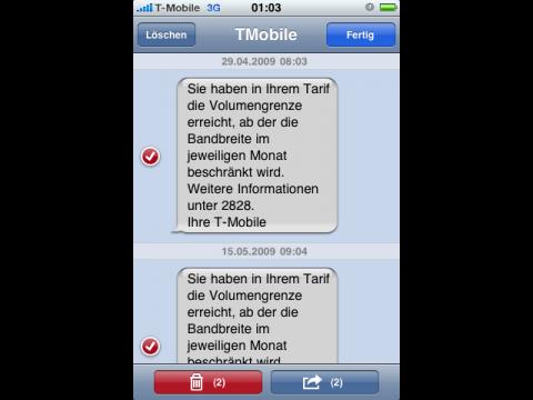 Mit einem Haken können Nachrichten im iPhoneOS 3.0 gelöscht ...