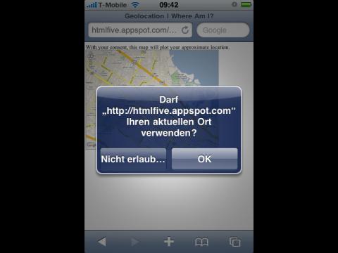 HTML-5-Demo: Die Webseite möchte die Position des iPhones wissen ...