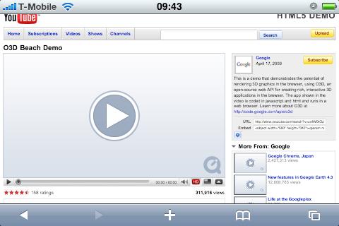 HTML 5 bei Youtube. Die Vorschaubilder fehlen.