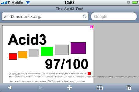 Acid3-Test in Safari: fast bestanden