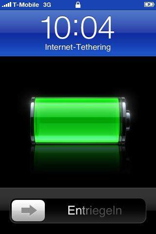 Aktives Internet Tethering sieht der Anwender recht deutlich auf dem gekoppelten iPhone 3GS.