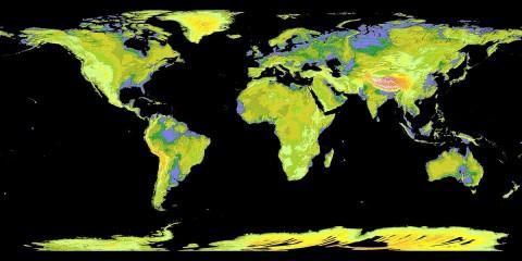 Die neue digitale Karte bildet 99 Prozent de Erdoberfläche ab. In dieser farbigen Version erscheinen tief liegende Flächen wie die norddeutsche Tiefebene violett. Je heller die Fläche werden, desto höher liegt das Gebiet: Mittlere Erhebungen wie die Mittelgebirge und Süddeutschland sind grün und gelb dargestellt. Hochgebirge wie der Himalaya sind orange, rot und weiß eingefärbt. (Bild: NASA)<br>