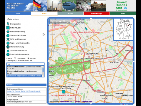 Über das Online-Schadstoffregister können Bürger die Emissionen in ihrer Nähe abrufen. (Screenshot: WhereGroup)