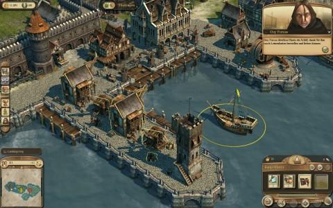 Im Hafen werden Waren auf die Schiffe verladen.