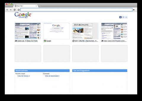 Neue Tabs in Chrome 3.0.191.3 - Thumbnail-Ansicht