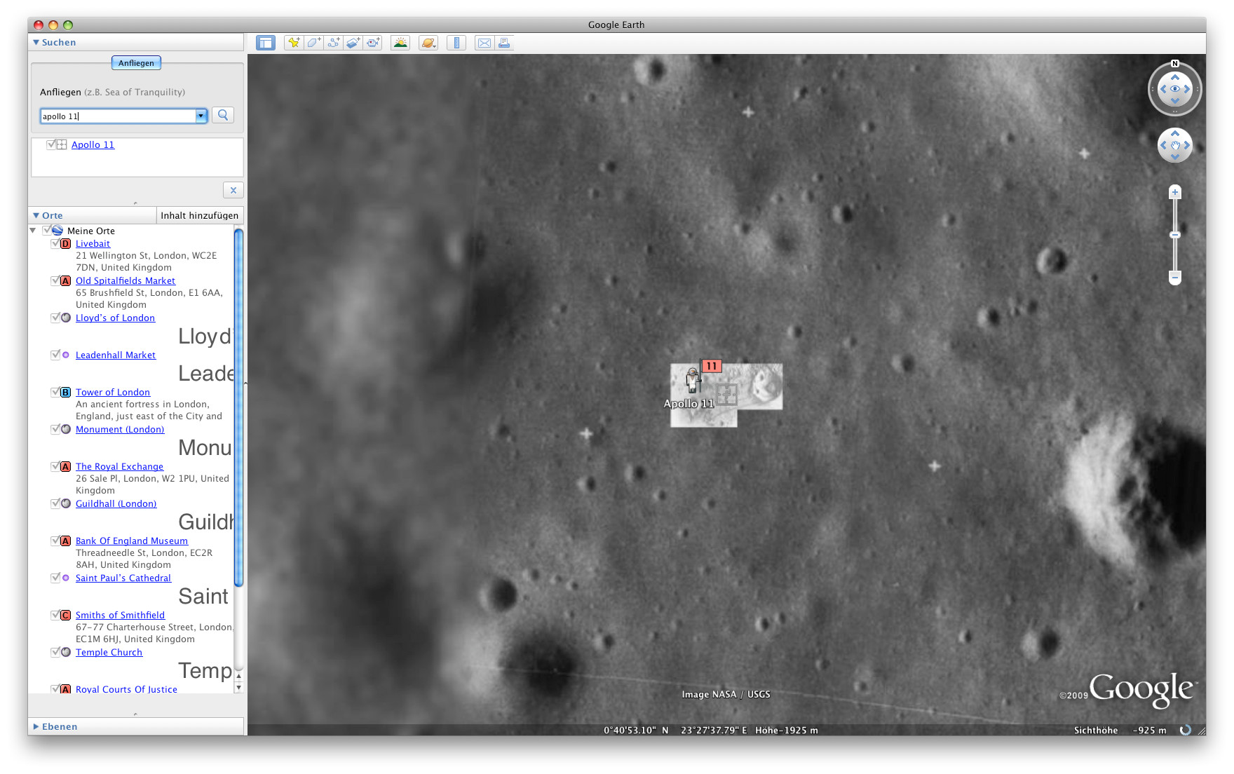 Mondforschung mit Google Earth - Der Mond in Google Earth