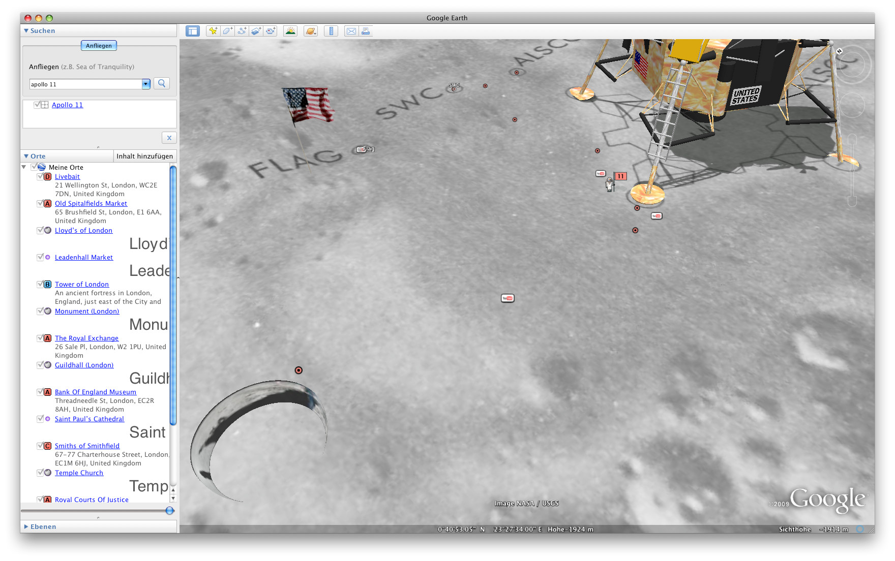 Mondforschung mit Google Earth - Der Mond in Google Earth