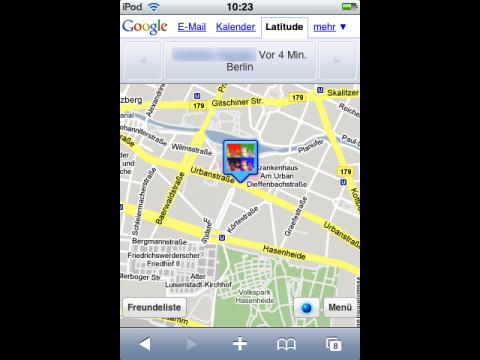 Google Latitude auf dem iPhone - Standortmarkierung auf der Karte