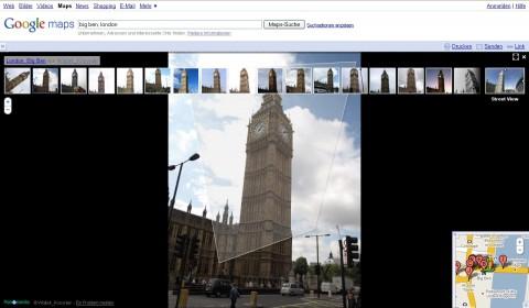 Street View mit Nutzerfotos (Big Ben, London)