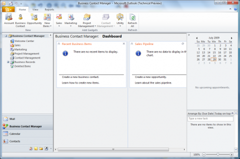 Office 2010 Technical Preview: Business Contact Manager in Outlook 2010