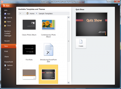 Office 2010 Technical Preview: Powerpoint-Vorlagen