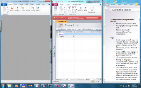 Office 2010 Technical Preview: Onenote rechts gedockt