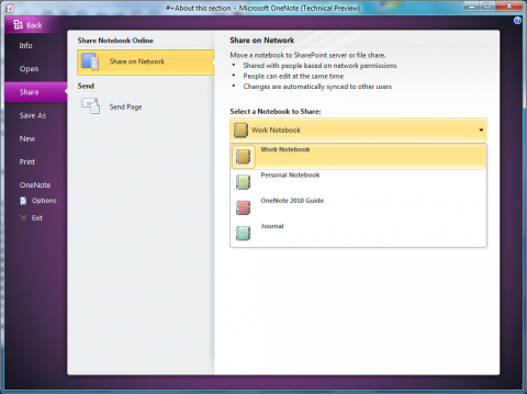 Office 2010 Technical Preview: Onenote 2010 - Backstagebereich