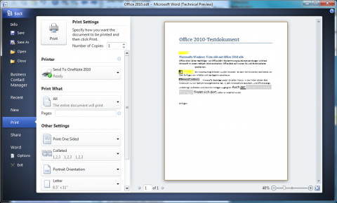 Office 2010 Technical Preview: aufgeräumter Druckdialog