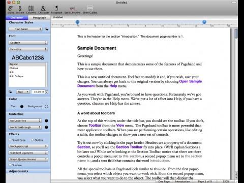 Pagehand - Oberfläche mit Zeichenformatierung
