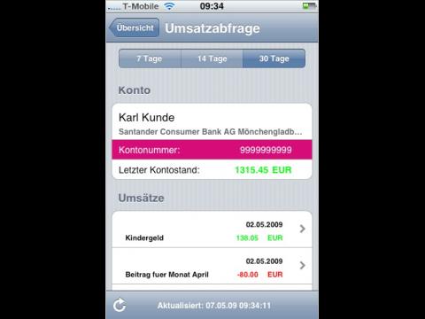 T-Banking auf dem iPhone