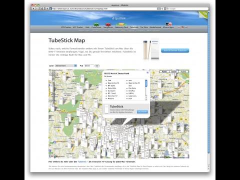 TubeStick Map - DVB-T-Datenbank nach Postleitzahlen