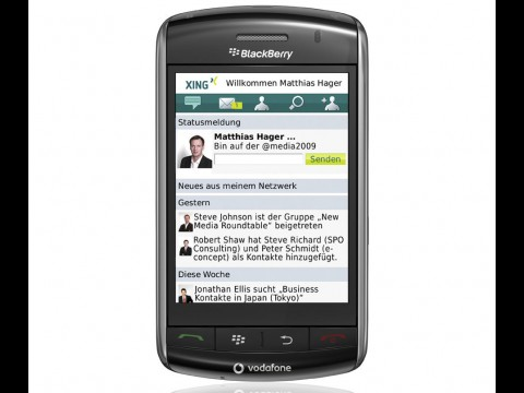 Xing App auf dem Blackberry Storm