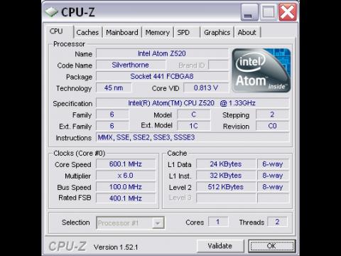 Eee PC T91 untertaktet. Im Ruhebetrieb drosselt die CPU von 1 GHz auf 600 MHz herunter.