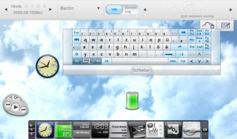 Asus Eee PC T91: Der Hintergrund ist animiert. Zu sehen ist außerdem die virtuelle Tastatur.