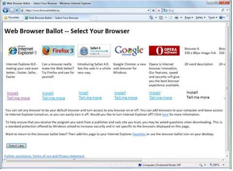 Microsoft-Vorschlag einer Browserauswahl für Windows 7
