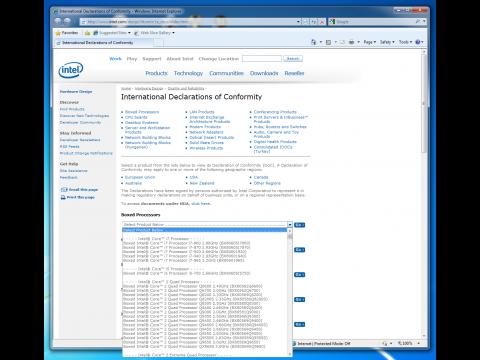 Drei Modelle von Core i5 und i7 auf Intels Webseite