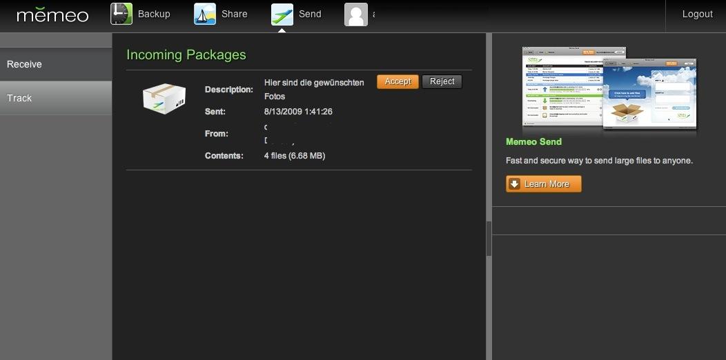 Memeo will den Versand großer Dateien erleichtern -