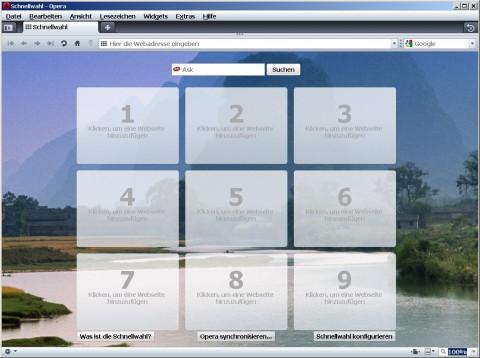 Opera 10 - Schnellwahlseite