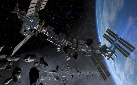 Die ISS in Shattered Horizon. Auf der rechten Seite ist die heutige ISS zu finden. Links der Anbau der vergangenen Jahrzehnte des Spiels.