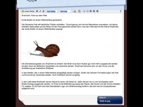 Snailmailr - Eingabemaske für den Brief