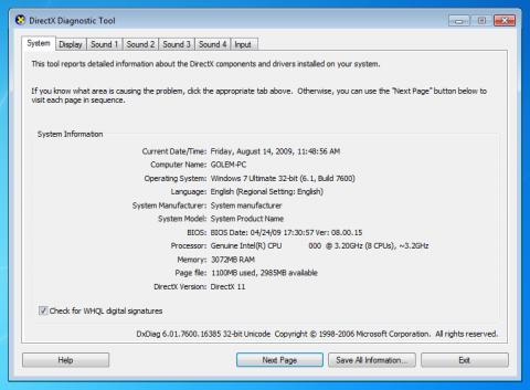 DXDiag erkennt DirectX 11.