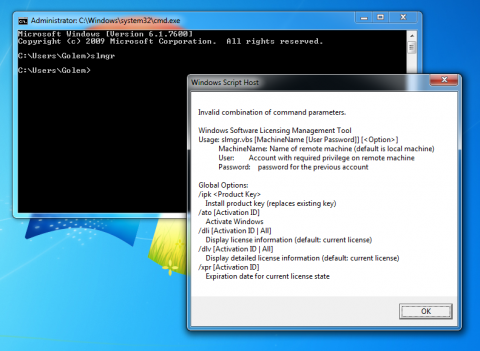 Das Skript slmgr.vbs unter Windows 7