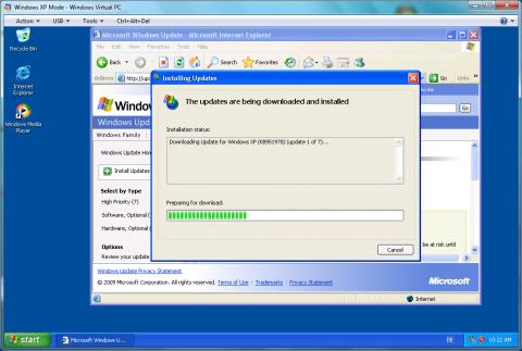 Windows-XP-Modus RC: Nach dem Start sollte erstmal das Windows Update bemüht werden.