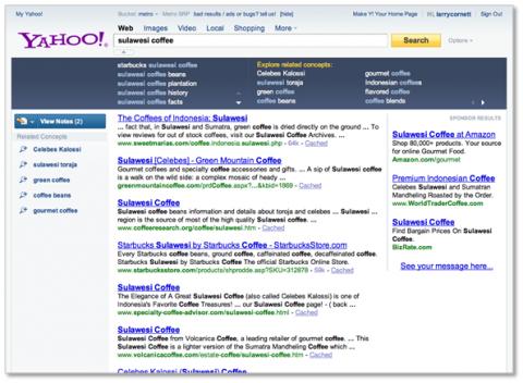 Yahoos neue Suchseite