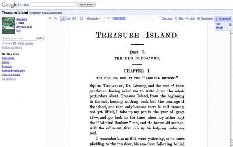 Google Books - Bücher wie Treasure Island (Die Schatzinsel) stehen nun im PDF- und EBUB-Format zum Download bereit.