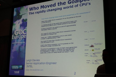 Intel-Vortrag von Leigh Davies - Who Moved the Goalposts? The Rapidly changing World of CPU's and Optimization