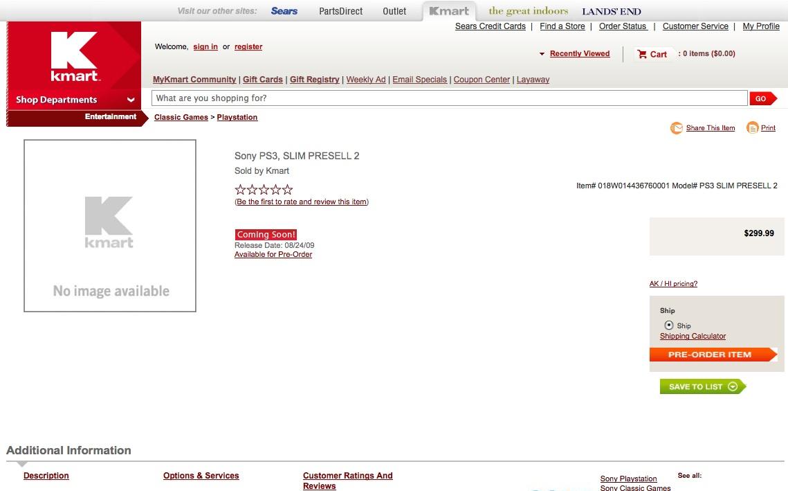 PS3 Slim durch US-Händler angekündigt - Kmart startet PS3-Slim-Vorbestellung