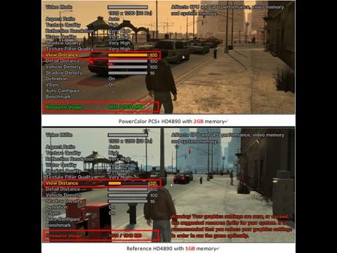Grand Theft Auto 4 und 2 GByte gegen 1 GByte Grafikspeicher (Quelle: Tul/Powercolor)