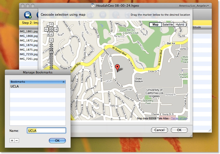 Geocodierung mit Blickrichtungsangabe - GPHoudahGeo - manuelle Codierung mit Bookmark-Funktion