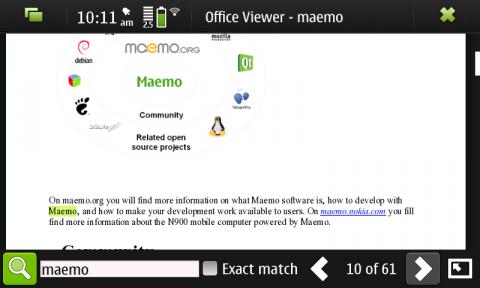 Dokumentenbetrachter für Maemo 5 auf Basis von KOffice