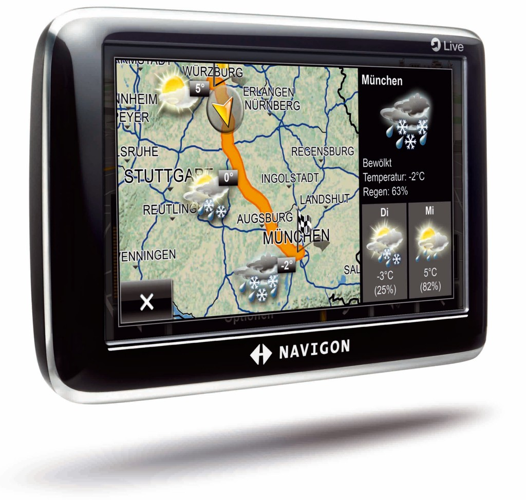 Navigon zeigt Navigationsgeräte mit mobilem Internetzugriff - Navigon 6350 - Navigation mit Wetterinformationen