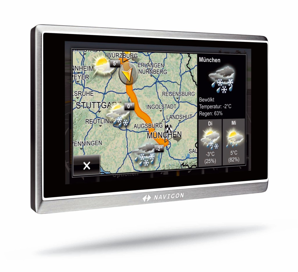 Navigon zeigt Navigationsgeräte mit mobilem Internetzugriff - Navigon 8450 - Navigation mit Wetterinformationen