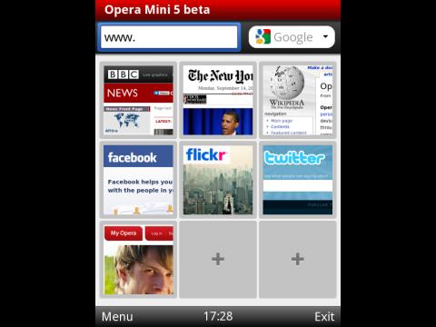 Opera Mini 5 mit Schnellwahlseite