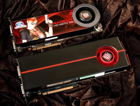 Die Radeon HD 5970 (unten) überragt die 4870 X2