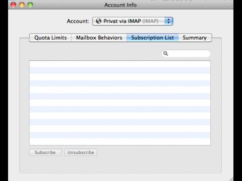IMAP: Apple Mail kann auch weiterhin keine Ordner abonnieren. Hier ein Cyrus-Mail-Server