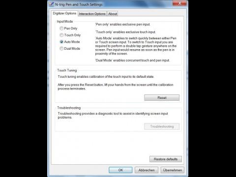N-Trig spart sich jetzt bei den Einstellungen die Multitouchgesten. Von nun an übernimmt Windows 7 das.