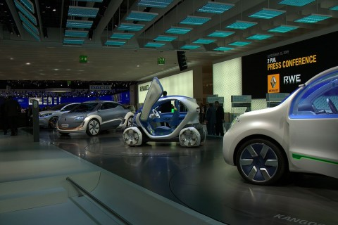 Renaults Elektrofahrzeuge: Kangoo, Twizy, Zoe und Fluence (von rechts nach links) (Foto: wp)