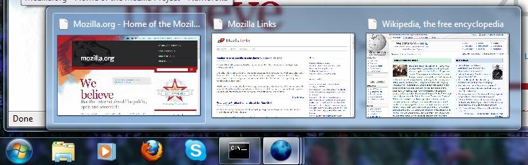 Firefox 3.6 unterstützt neue Windows-7-Funktionen - Firefox 3.6 - Tabvorschau in Taskleiste von Windows 7