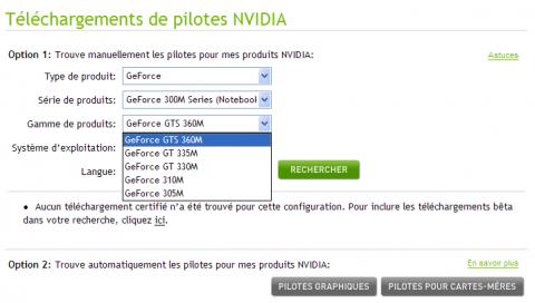 Geforce 300M auf französischer Nvidia-Seite